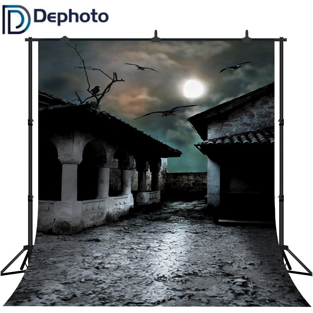 Dephoto Halloween fondo para fotografía de fiesta Horrible Casa Cuervo niños Fotografía Fondo sesión de fotos estudio