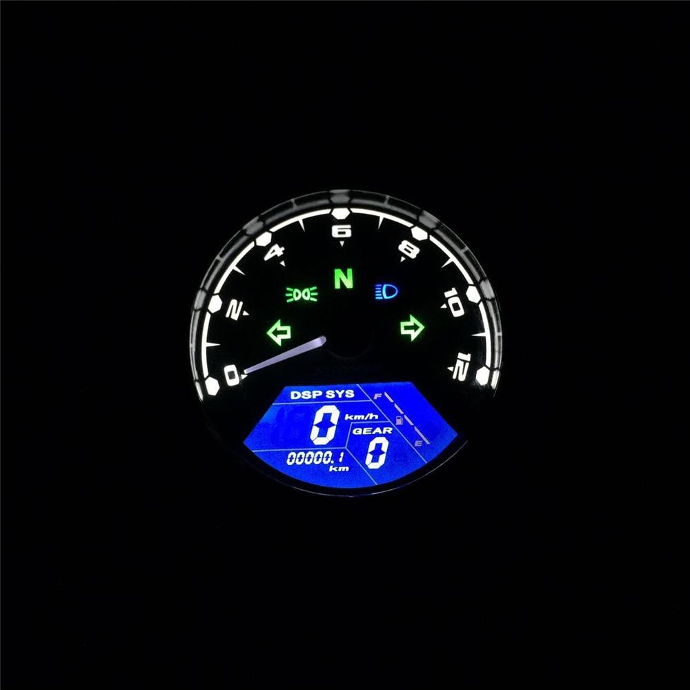Universal Motorcycle LCD Digital Odometer Tachometer Speedometer Waterproof Gauge Multi-function for Cafe Racer 2 - 4 Cylinders