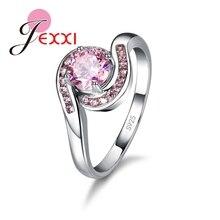 Novo design rosa zircônia cúbica anel moda 925 prata esterlina feminino casamento noivado festa jóias doce amante presente