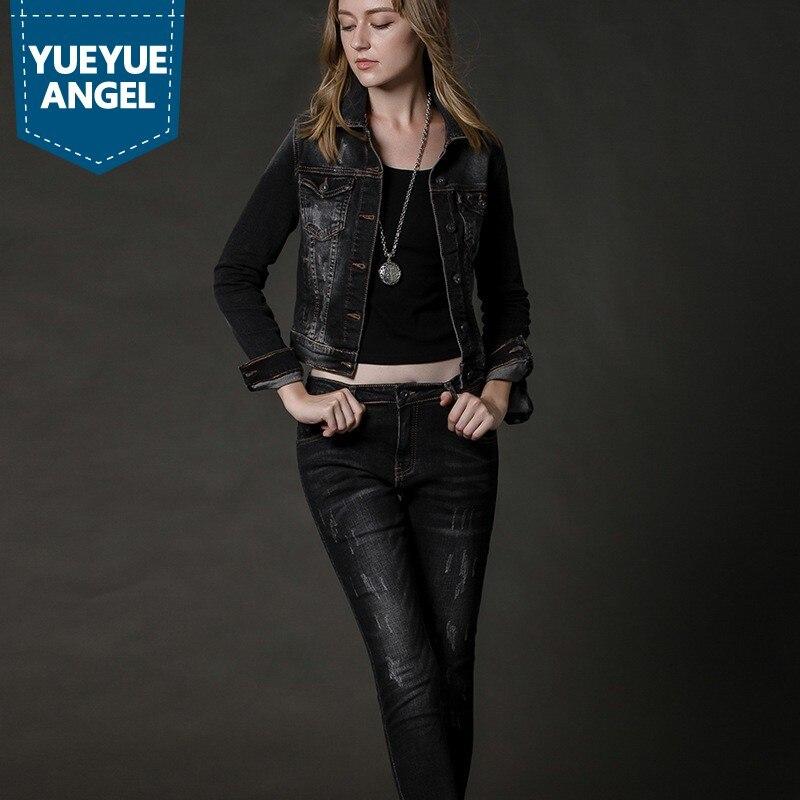 Moda coreana cuello vuelto chaqueta de mezclilla de manga larga deshilachado Jeans conjunto de dos piezas para mujeres otoño Casual Street Denim Suit