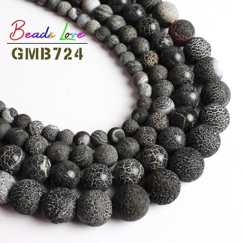 Tela de araña negra esmerilada ágata ónice cuentas redondas sueltas de piedra Natural para la fabricación de joyas collar de pulsera DIY de 15 6/8/10/12mm