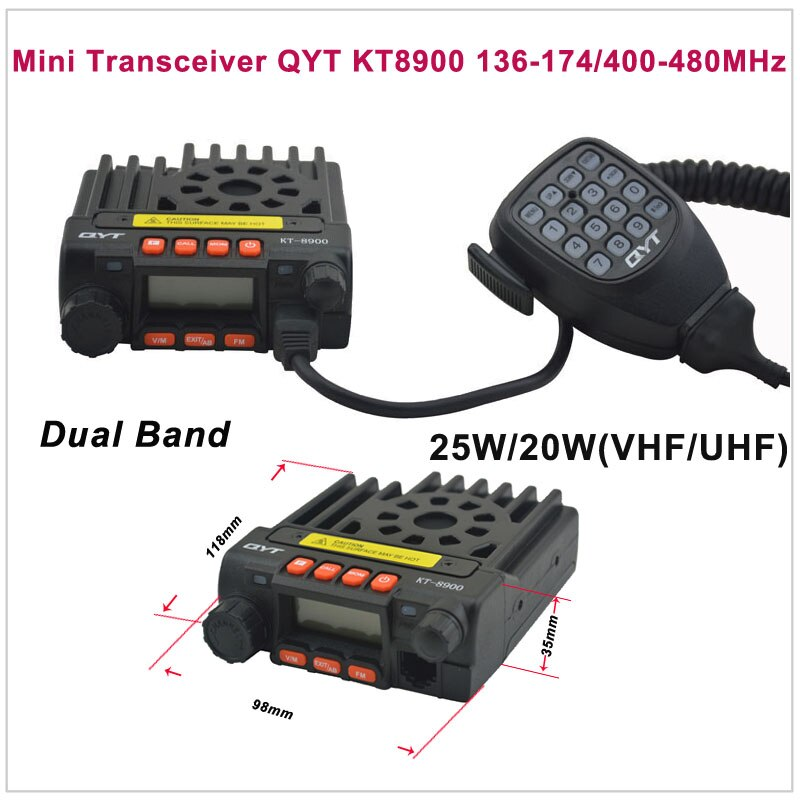 Mini transceptor QYT KT8900 136-174/400-480MHz radio de dos vías transceptor móvil de banda Dual Color negro