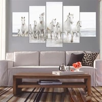wall art modular pictures home decor 5 panel stronger horse animal hd printed modern canvas painting for living room no frame