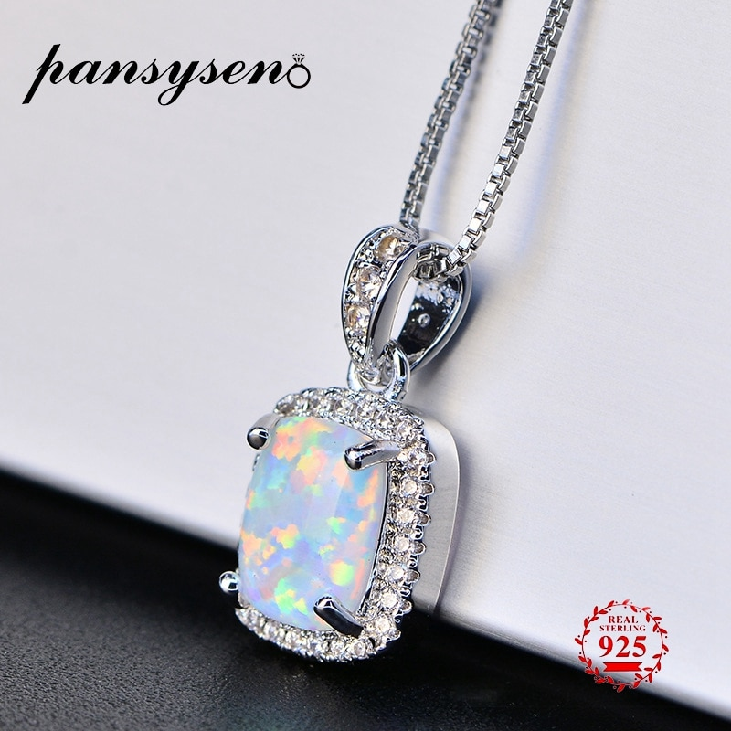 Pansysen real 925 prata esterlina pingente colares para as mulheres novo 9*7mm branco rosa azul opala colar presentes de aniversário da menina