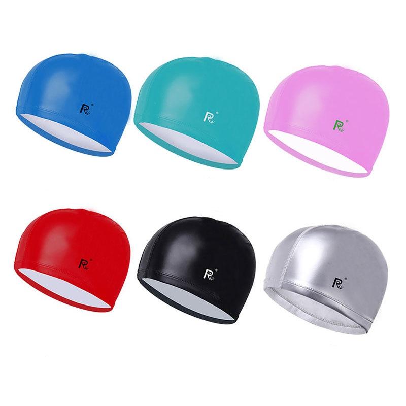 Swimming caps adults New Elastic Waterproof PU Fabric hats Ear Protect Long Hair men and women Sports Swim Pool Diving Hat