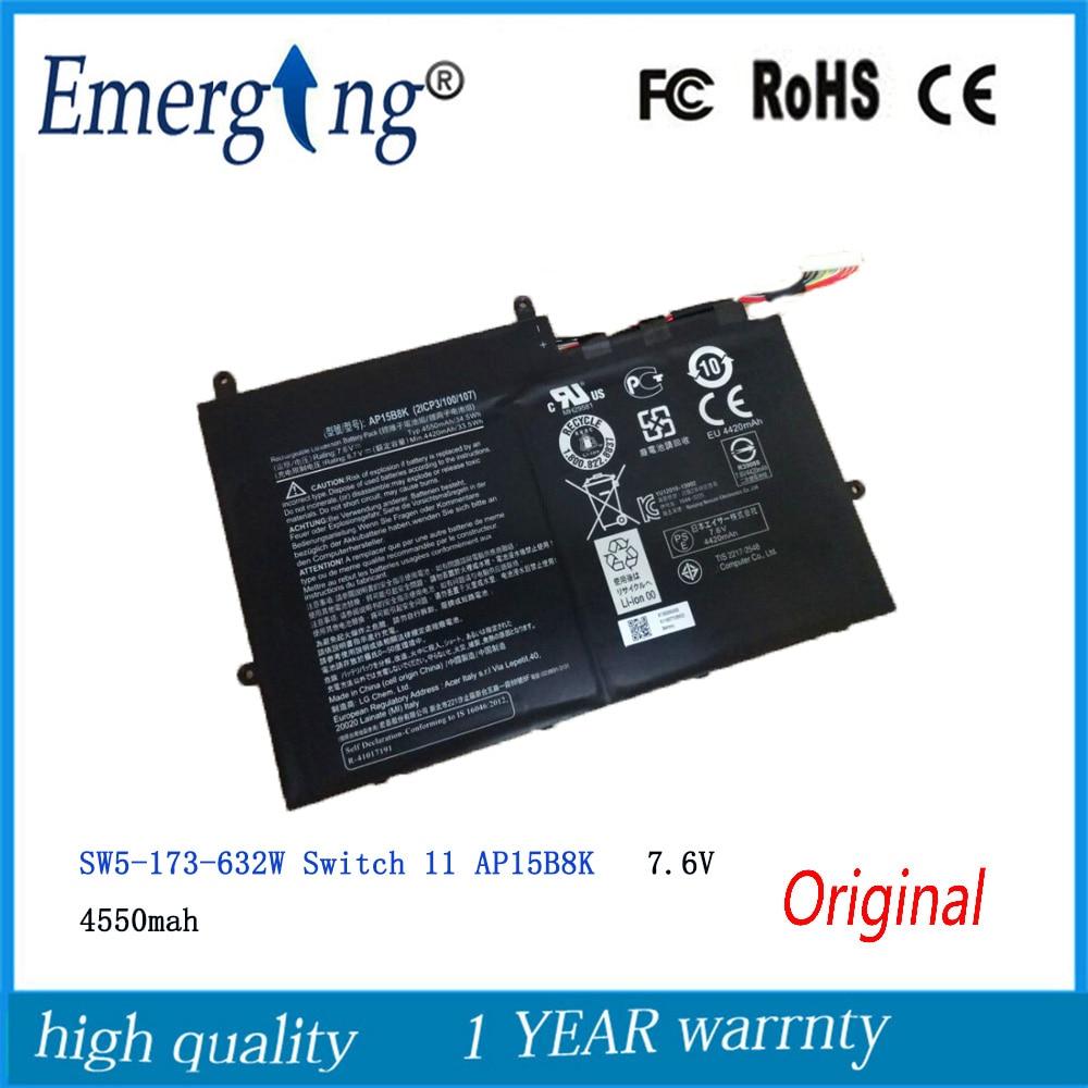 7.6V  4550Mah Original  New High Quality  AP15B8K Laptop Battery for Acer  W5-173-632W SW5-173 Switch 11