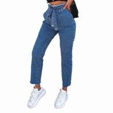 2019 Women Vintage Jeans High Waist Belt Stretch Skinny Denim Female Tassel Pencil Pant Slim Trouser Zipper Burr Full Pant