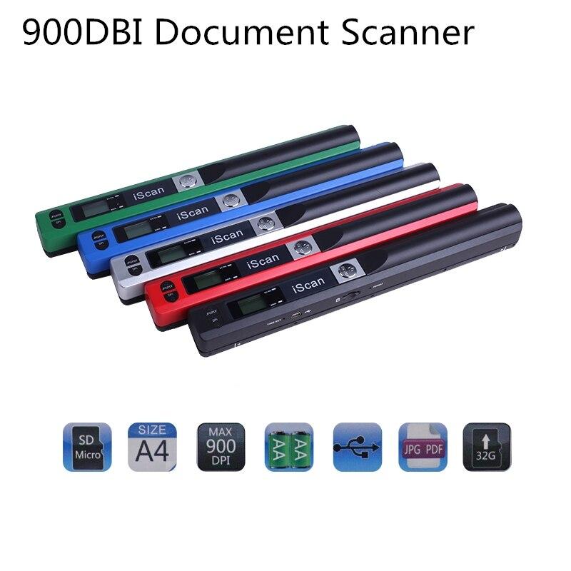 Scanner portátil iscan 900 dpi 1050dbi formato documento imagem a4 livro scanner display lcd jpg/pdf usb2.0 scanner transporte da gota