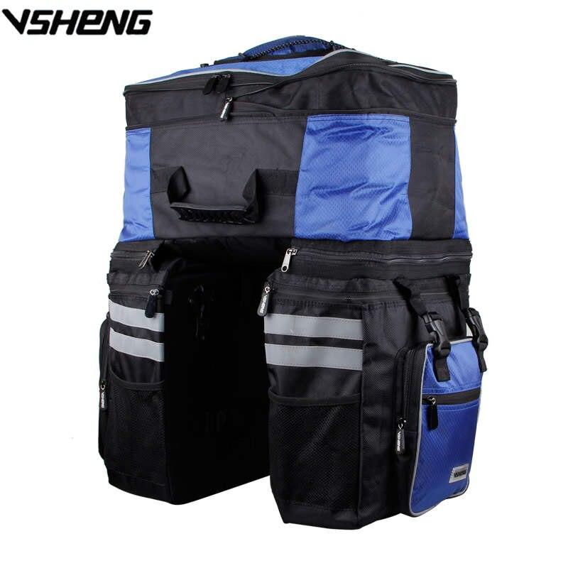 VSHENG bolsa de Ciclismo de gran capacidad extraíble, cubierta de lluvia, bolsa trasera de bicicleta, bolsa de viaje, almacenamiento de ciclismo, bolsa de maletero, paquete de bicicleta A2