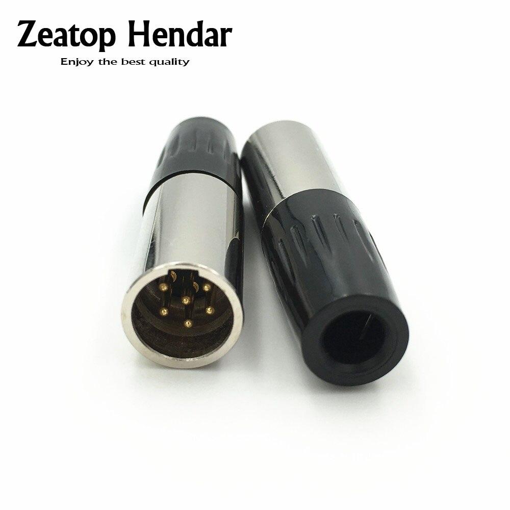 10 pces mini xlr 6 pinos macho plug 6-pin xlr áudio microfone conector mic para cabo de solda em linha reta