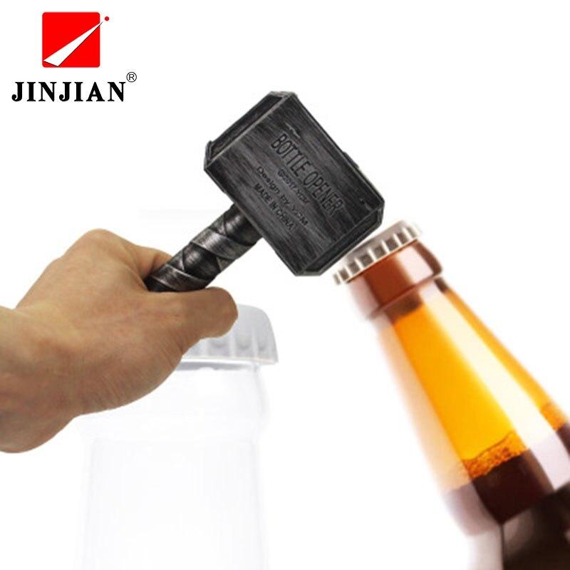 Abridores de garrafa de cerveja jinjian martelo de thor em forma de abridor de garrafa de vinho saca-rolhas abridor de garrafa de bebida chave de frasco para a barra de jantar