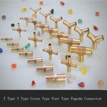 Empalme de tubo de manguera de cobre Pagoda Unión de inserción rápida tipo T de tres vías de cuatro vías 6/8/10/12/16mm junta de manguera de tubo de Gas