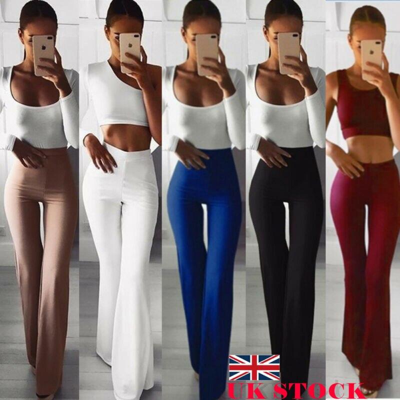 Pantalones elegantes de pierna ancha de campana de cintura alta sólidos de Color sólido elásticos pantalones de moda Simple 2019 nuevo