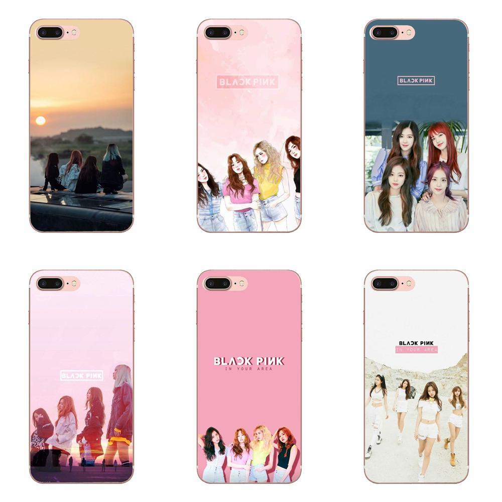 Preto Rosa K-pop Kpop Blackpink Colagem Para Apple iPhone X XS Max XR 4 4S 5 5C 5S SE 6 6 S 7 8 Plus Soft Phone Case Capa Skin