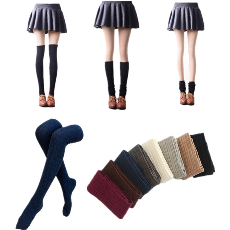 2019 medias largas tejidas hasta la rodilla medias al muslo medias sexis Twist cálido invierno otoño primavera muslo medias altas
