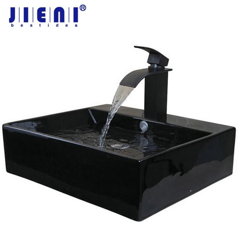 JIENI الأسود فقط السيراميك مغسلة سفينة مرحاض حوض الحمام بالوعة حمام الجمع بين النحاس سفينة الغرور الحنفية خلاط صنبور