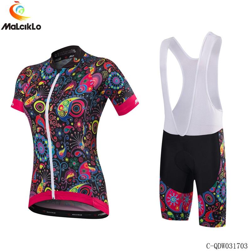 Malciklo Women Summer cycle jersey set Girl short sleeve mountain bike bibs pants design outdoor sportswear custom