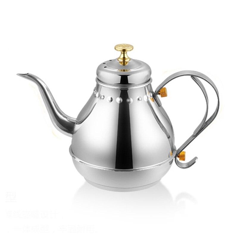 Caldera de agua de acero inoxidable de 1,2 l/1,8 l, tetera de inducción, té y café, surtidor largo con filtro infusor, restaurante de Hotel