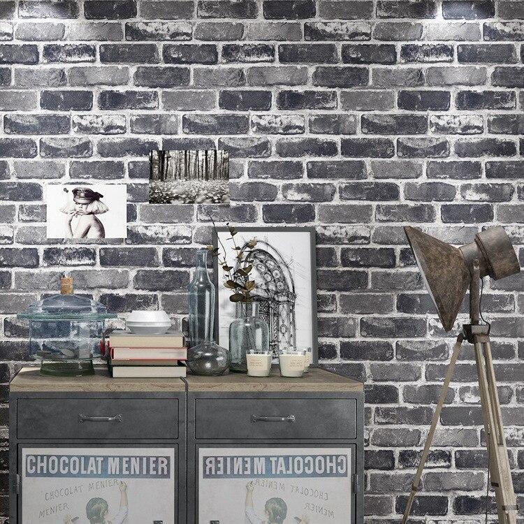 Papier peint en brique 3D Vintage   Rouleau de papier vinyle PVC Retro, papier mural de prix industriel pour Loft, rouge, noir, gris, papier lavable, décor mural