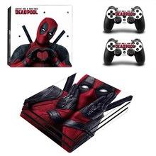 Deadpool vinyle autocollant de peau pour Sony PS4 Pro Console et 2 contrôleurs décalcomanie couverture accessoires de jeu