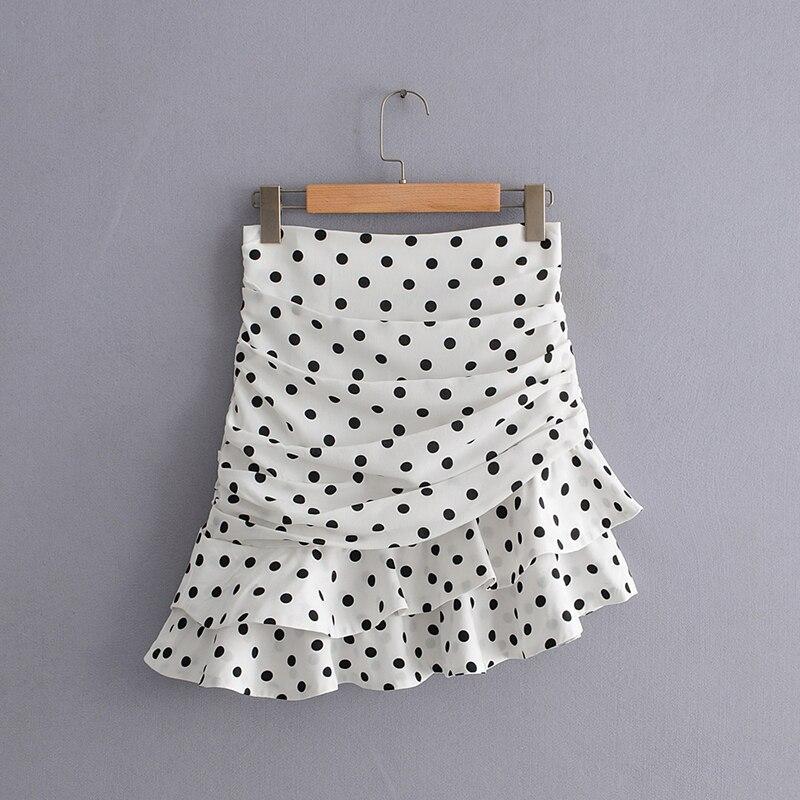 Women Summer Polka Dot Print Mini Za Skirt 2019 Fashion Pleated Ruffles High Waist Women Asymmetrical Skirts faldas mujer moda