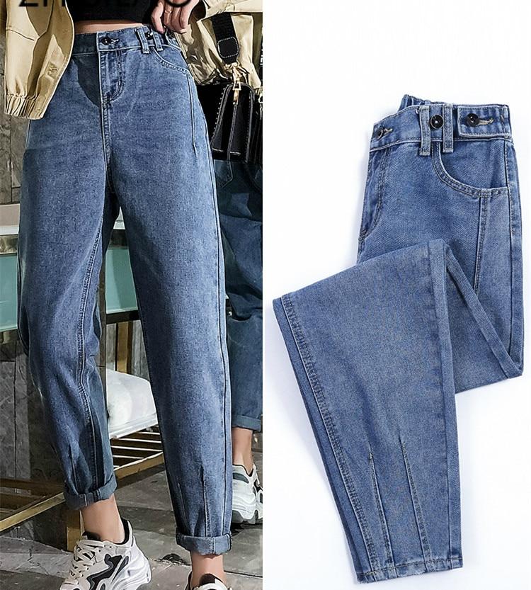 Harem Denim Pants High Waist Women Jeans 2019 Street Mom Jeans Plus Size Vintage Retro Boyfriends Loose Jeans Elastic Waist