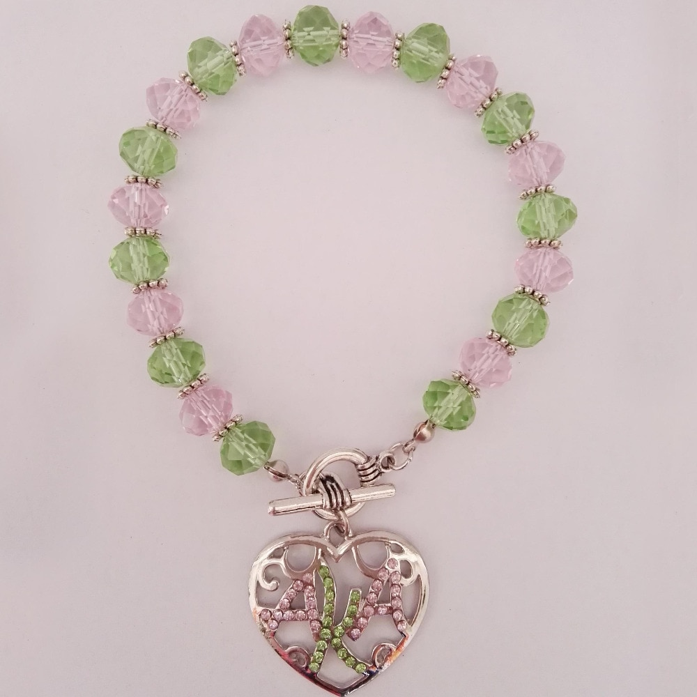 Greek AKA  Sorority  crystal pink green  heart  charm   bracelet bangle   available custom bracelet Jewelry