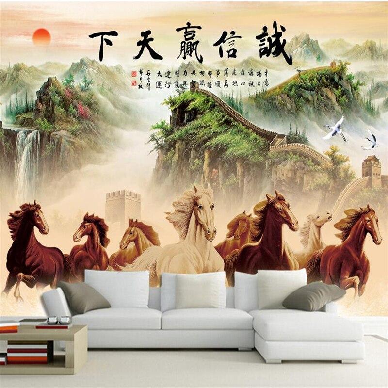 wellyu papel de parede para quarto Custom wallpaper  Honesty wins the world horse to the success of the lobby office backdrop