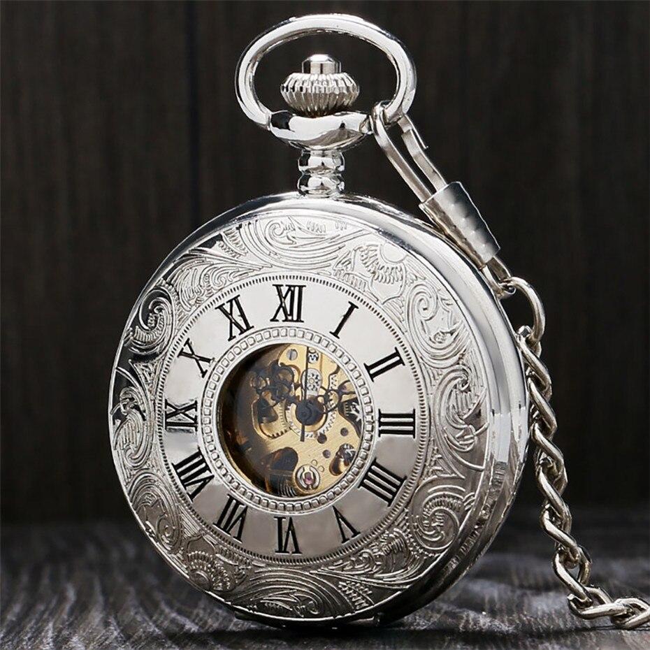 Exibição Mão Winding Mecânica Pocket Watch Numerais Romanos de prata Homens Pingente De Punk Relógio Do Vintage Relógio Formado 30 cm Cadeia