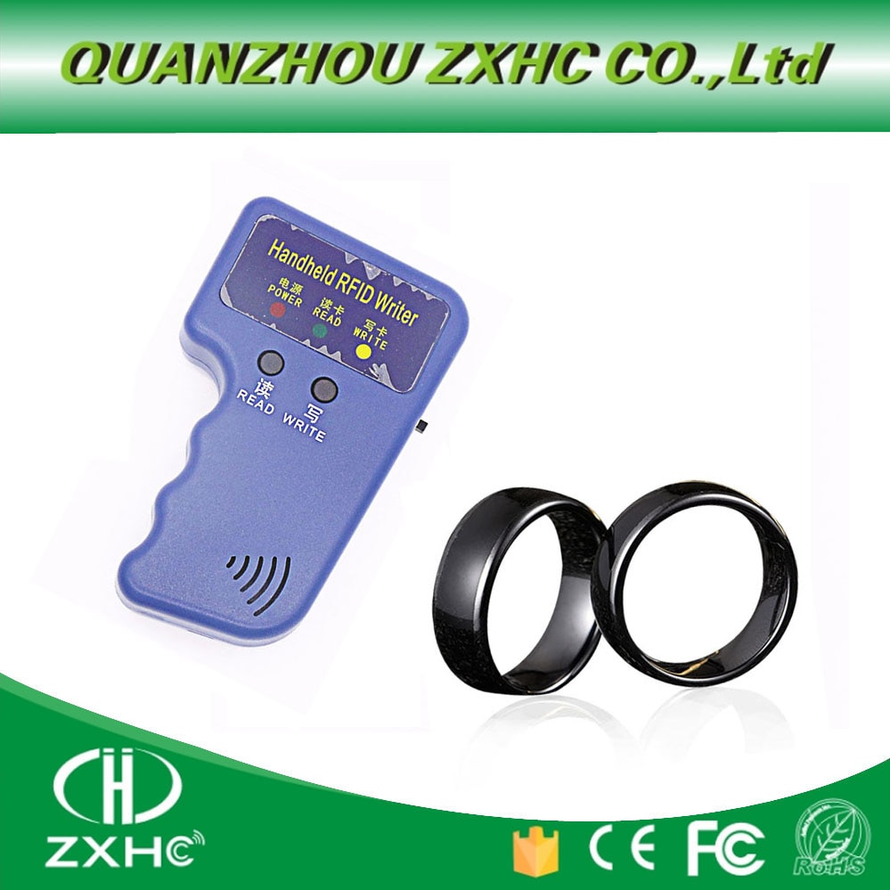 Nuevo manual 125KHz EM4100 RFID copiadora escritor duplicador programador lector + ID125Khz RFID negro cerámica dedo inteligente anillo desgaste