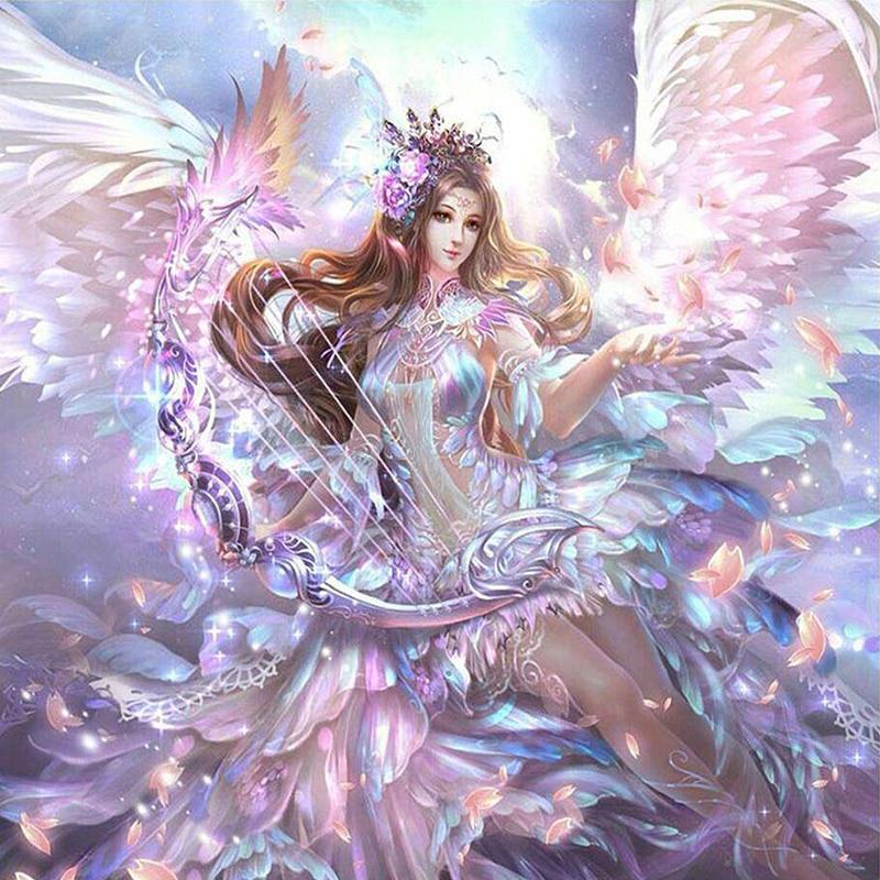 5D DIY алмазная живопись Мультфильм крест с ангелами стежок Алмазная вышивка мозаика алмазы настенные наклейки ваза для домашнего декора
