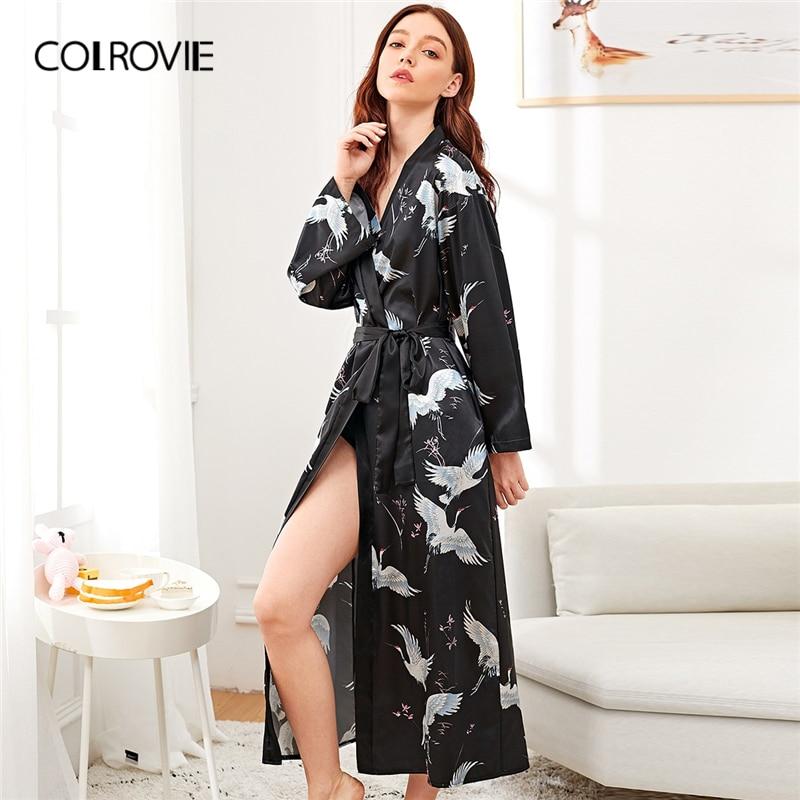 COLROVIE Schwarz Solide Kran Druck Satin Longline Elegante Robe Frauen Robe 2019 Frühling Koreanische Langarm Belted Nachtwäsche Robe