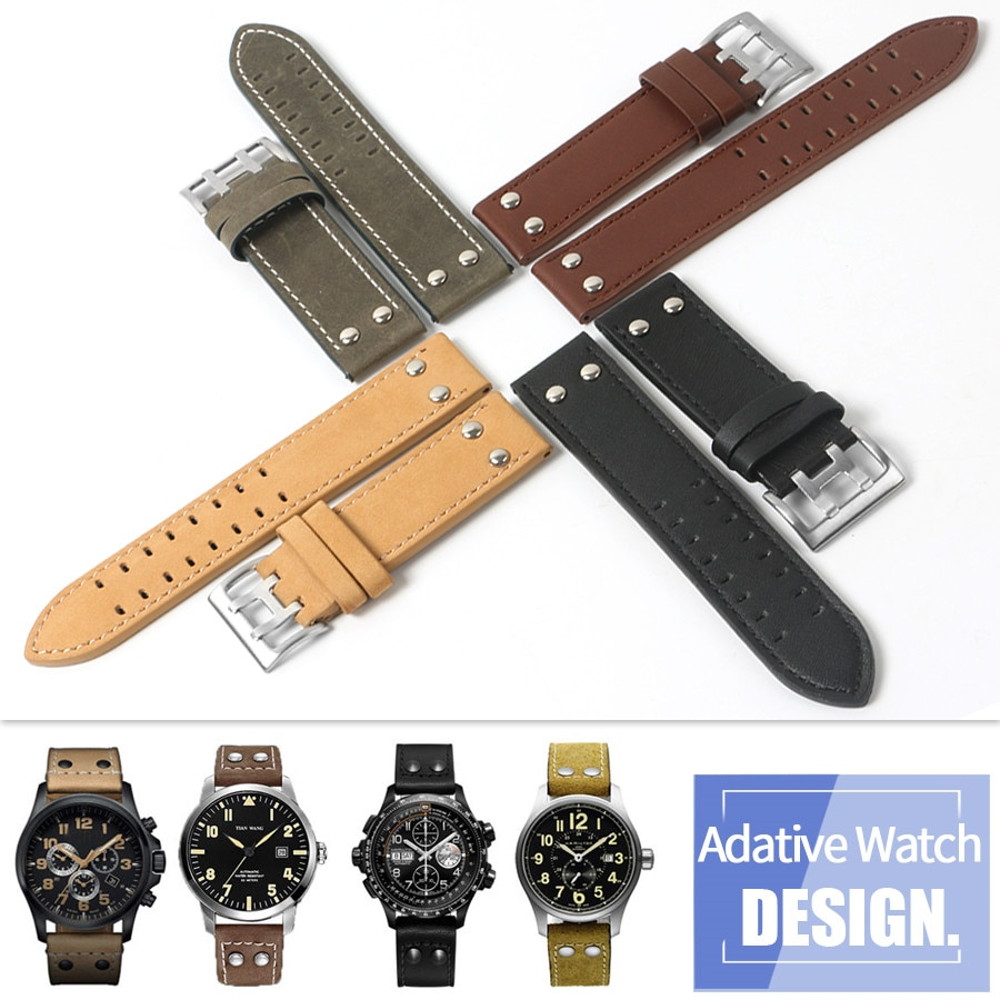 22mm Universal Cow Leather Genuine Screw Watchband For Hamilton Khaki Field Aviation Zenith Wristwat