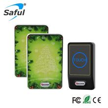 Saful Plug-in AC100-240V timbre inalámbrico seguridad del hogar 1 transmisor táctil al aire libre + 2 receptor interior