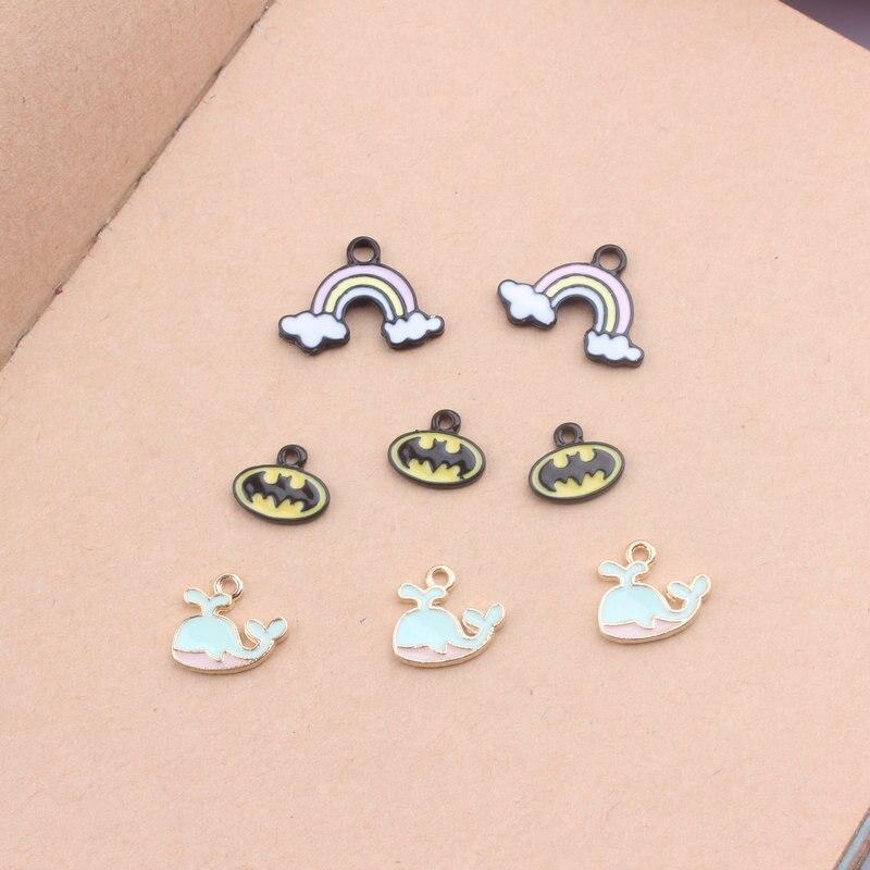 10 pçs/lote novo diy acessórios de jóias tom dourado gota liga óleo encantos pequenos acessórios pendurado arco-íris bat baleia esmalte charme