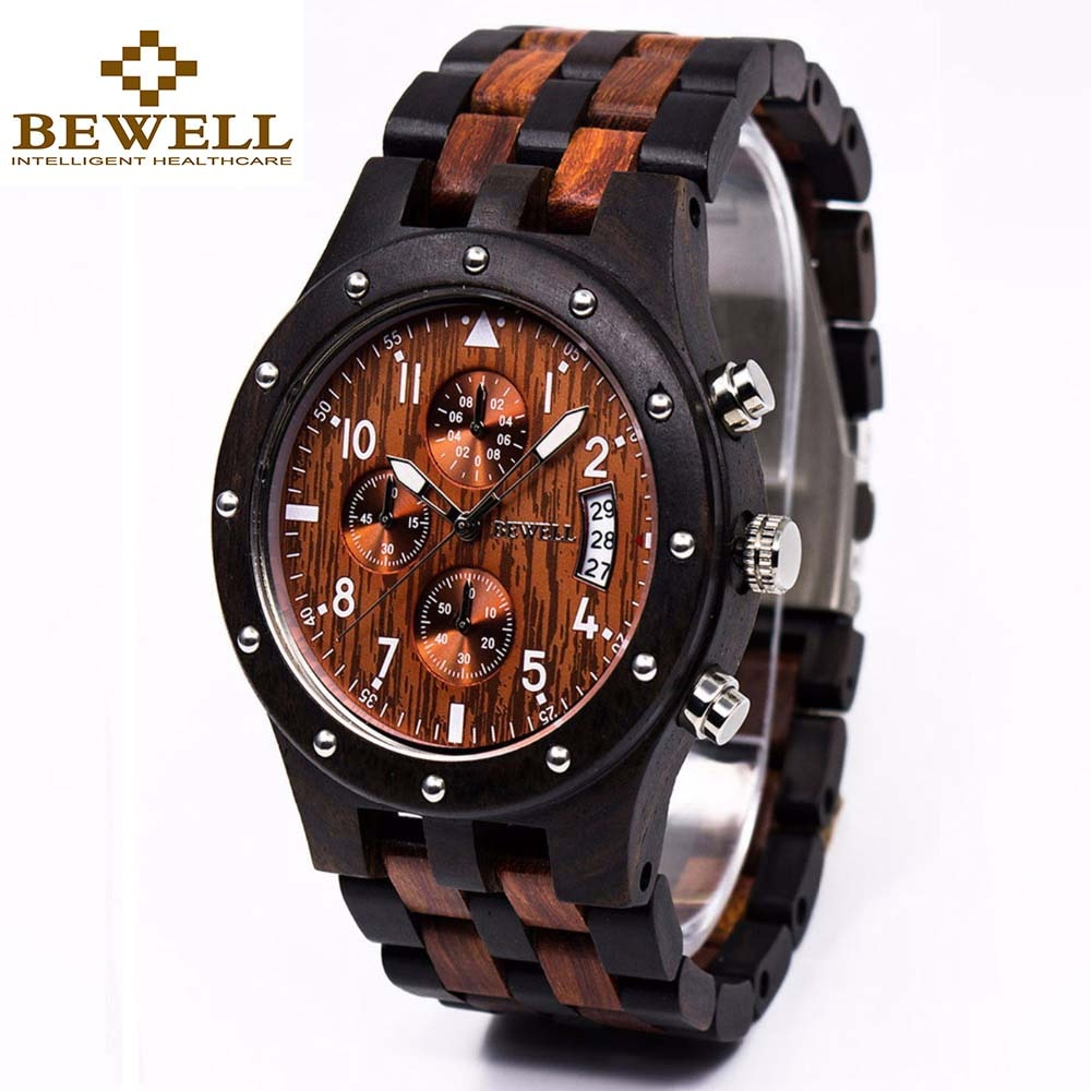 bewell men wooden watch fashionable waterproof quartz wrist watch ornament valentine s day gift with gift box BEWELL Wooden Men's Watch Luxury Brand Quartz Wrist Moment Watches With Complete Calendar Time dropship supplier 109D