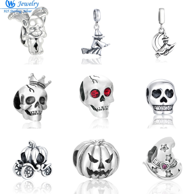 100% 925 Sterling Silver Special Skull Beads Fit European Charms Original Bracelet S925 charms
