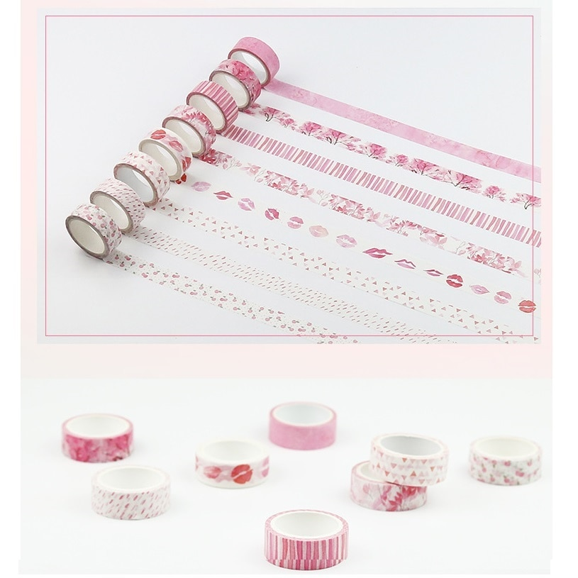 8 Uds color rosa conjunto de cintas washi Flor de Sakura labios decoración cintas de Carrocero pegatinas scrapbooking ablum teléfono papelería A6011