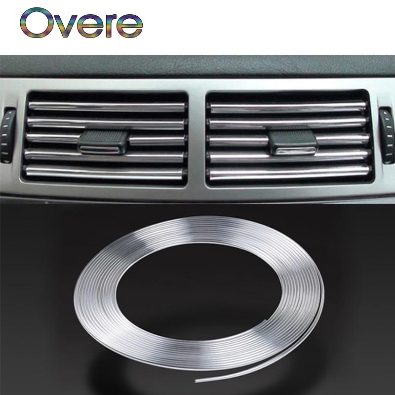 Overe 3M molduras interiores de automóviles tira de cromo para bricolaje Seat Leon Ibiza Skoda Octavia Fabia Octavia Yeti Audi A3 A4 B8 B6 B7 A6 C5 C6