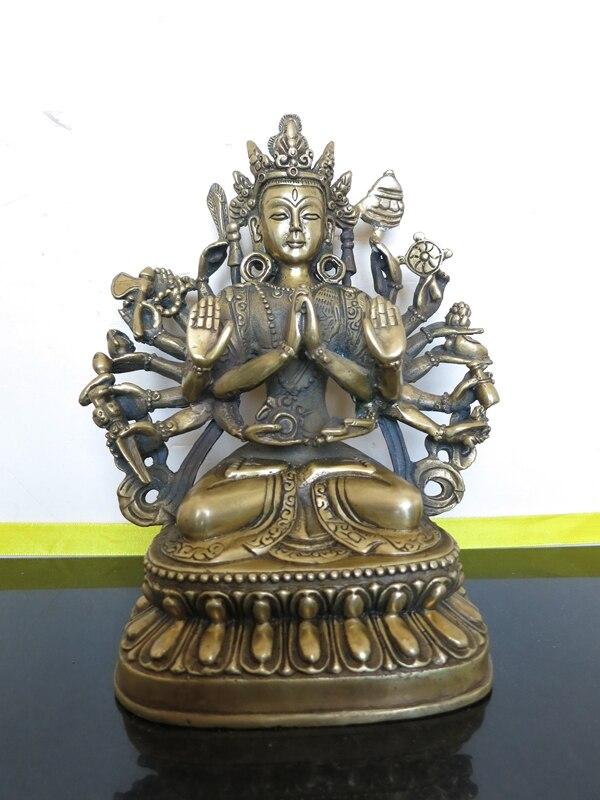 Elaborado budismo chino latón Bodhisattva Buda estatua