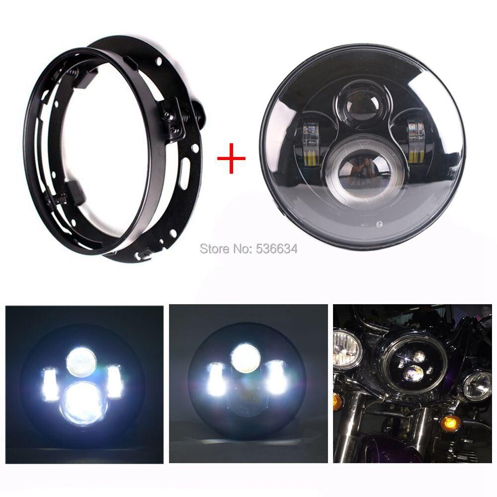 7 pulgadas LED proyector faro Hi/luz baja juego LED faro montaje anillo para Electra Glide clásico