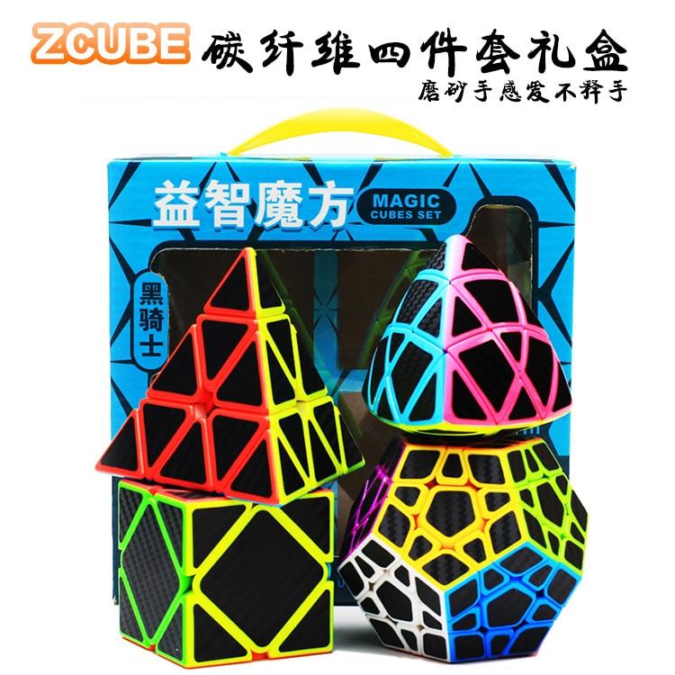 Zhenwei velocidade cubo puzzle pacote   2x2 3x3 4x4 5x5 fibra de arroz pirâmide skew megaminx carbono conjunto cubo sem cola coleção