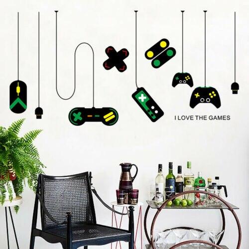 Adhesivo de pared para niño y niña, consola de juegos, Joystick, videojuego, decoración de dormitorio, calcomanía