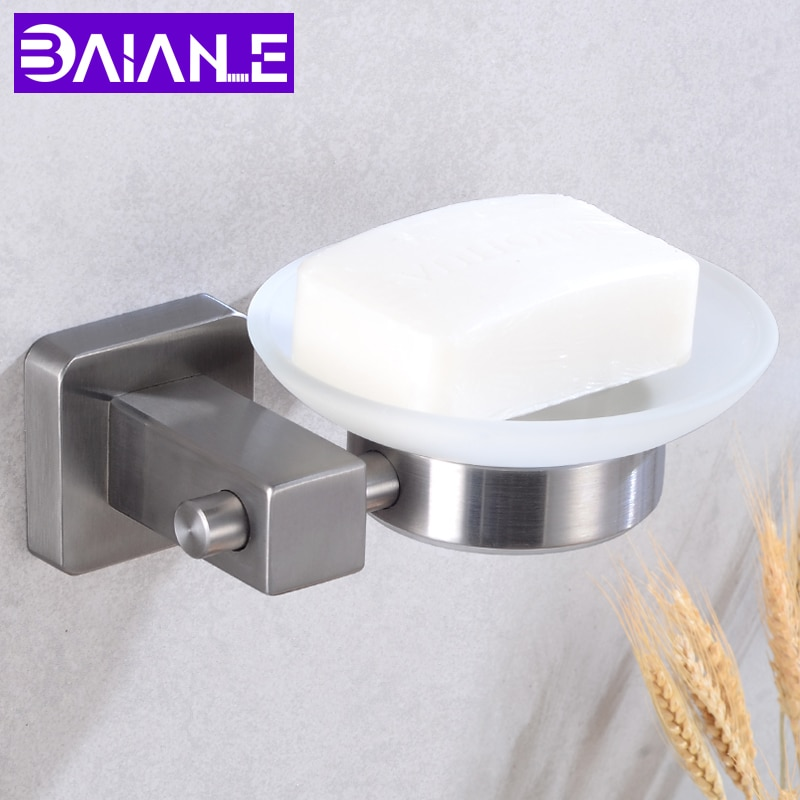 حامل صابون حمام من الفولاذ المقاوم للصدأ ، رف تخزين أطباق الصابون المثبت على الحائط ، صينية زجاجية ، رف حمام زاوية