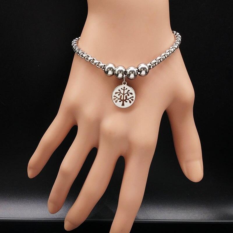 Árvore da vida pulseira de aço inoxidável feminino redondo grânulo prata cor pulseira jóias acero inoxidável pulsera b61279