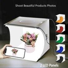 20cm 2 Led Mini Lightbox produit Shoot boîte lumineuse facile utilisé Photo Studio Softbox photographie boîte lumière tente Photo fond Kit