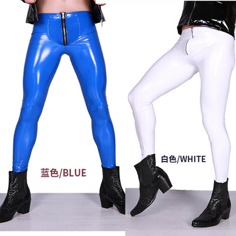 Man Low Waist Faux Leather PU Shiny Punk Pencil Pants Imitation Latex Elastic Tight Trouser Highlight Legging Ankle-Length Pants
