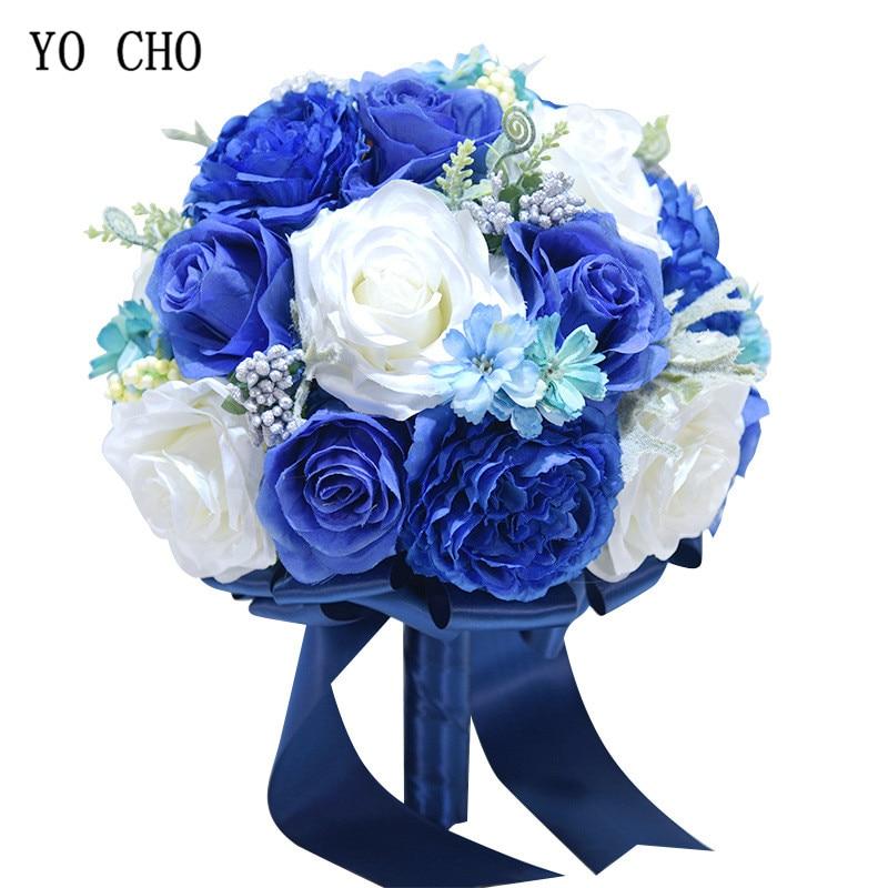 Ramo de novia de YO CHO azul real rosas artificiales peonías flores de seda boda ramos de novia damas de honor accesorios de boda