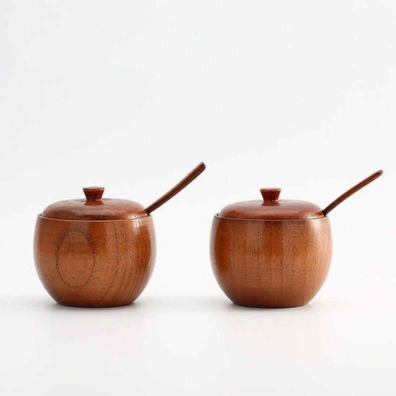 Tarro de especias de madera Natural con tapa, tazón de azúcar Vintage, tarro de sal con cuchara, cocina, recipiente de almacenamiento de sal de condimento de estilo japonés