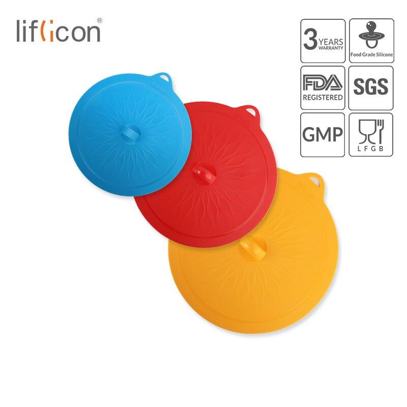 Liflicon 3 uds tapas de succión de silicona tapas de vidrio tapas universales Pan Bowl olla de cocina tapas de silicona Stretch tapas de tope de alimentos